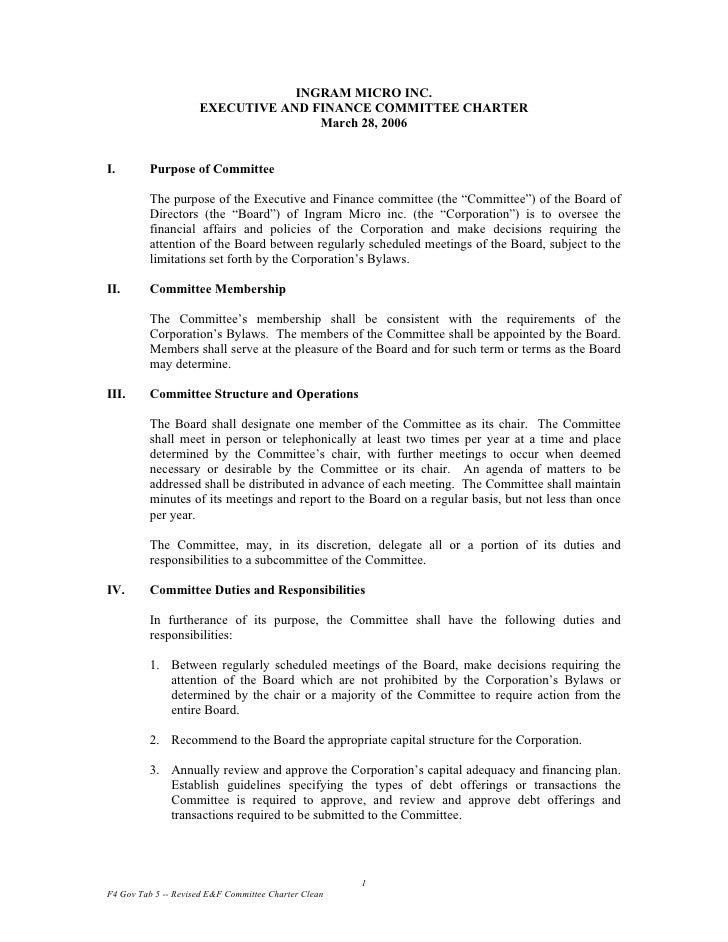 Executive and Finance Committee Charter