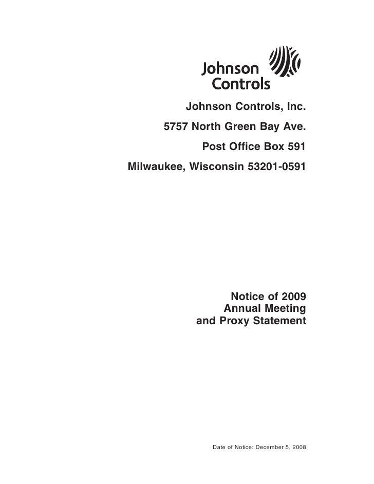 johnson controls  FY2008 Proxy Statement