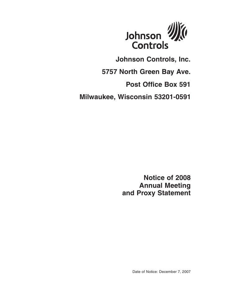 Johnson Controls, Inc.       5757 North Green Bay Ave.             Post Office Box 591 Milwaukee, Wisconsin 53201-0591    ...