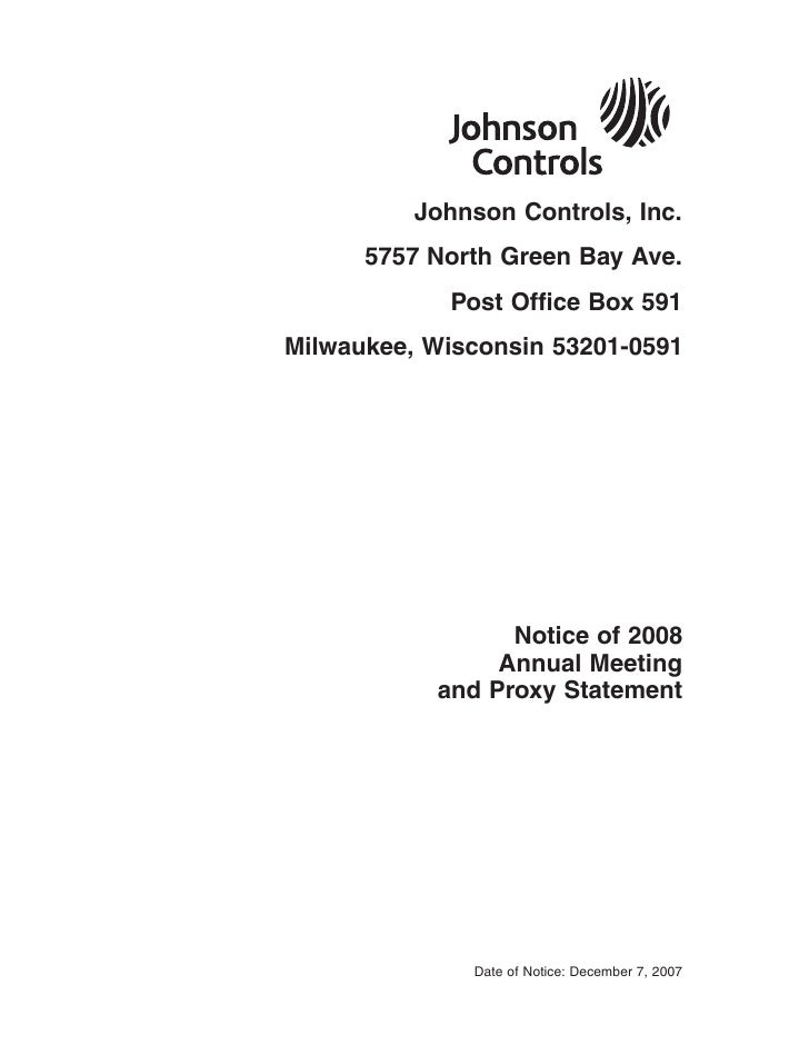 johnson controls  FY2007 Proxy Statement