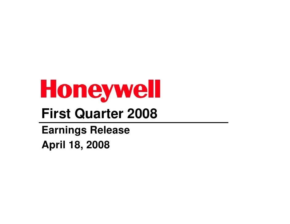 First Quarter 2008 Earnings Release April 18, 2008