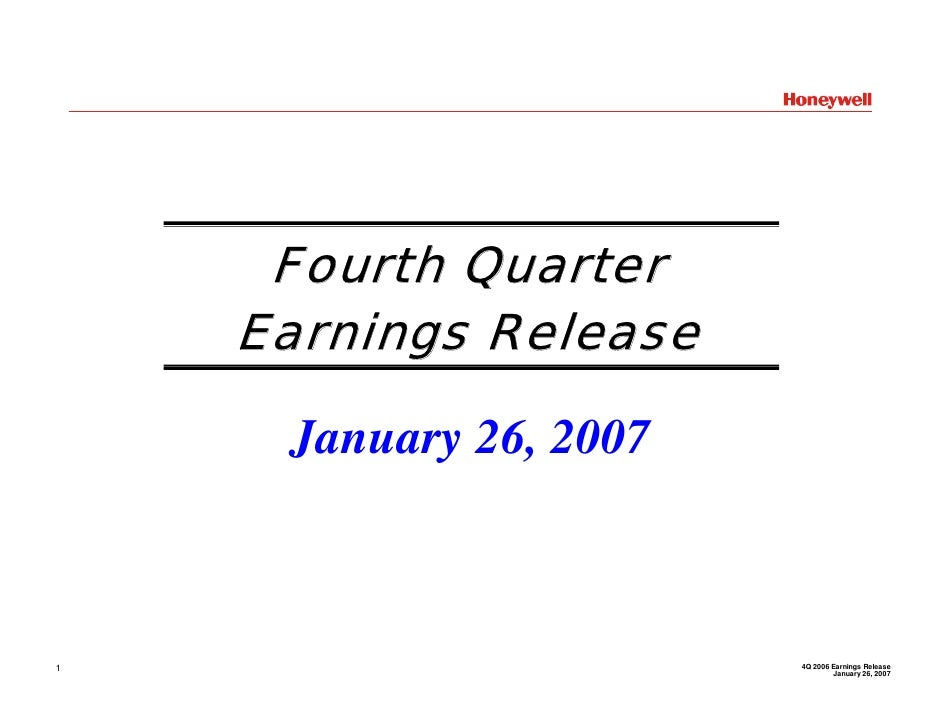 Honeywell Q4 2006 Earnings Conference Call Presentation