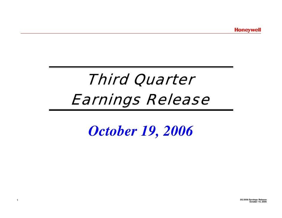 Third Quarter     Earnings Release        October 19, 2006                             3Q 2006 Earnings Release 1         ...