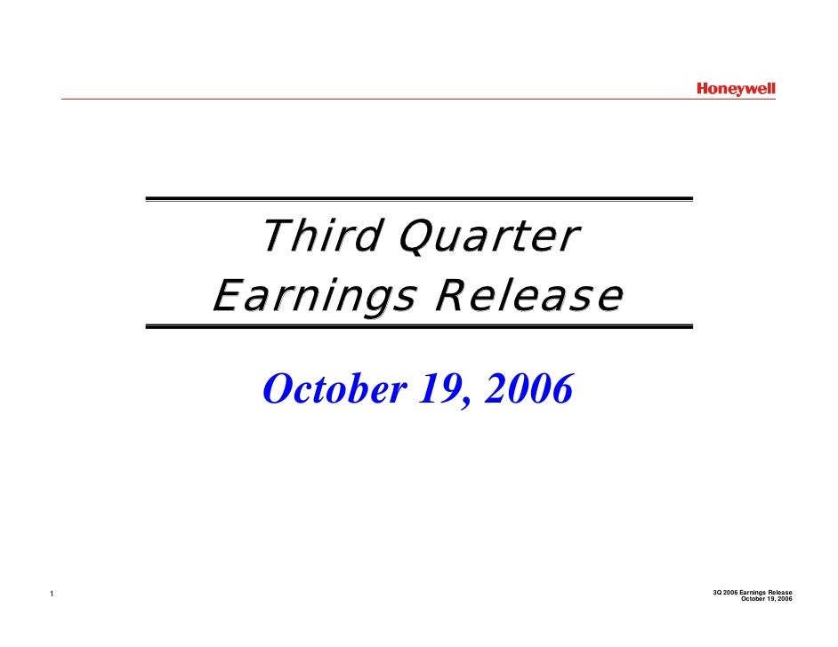 Honeywell  Q3 2006 Earnings Conference Call Presentation
