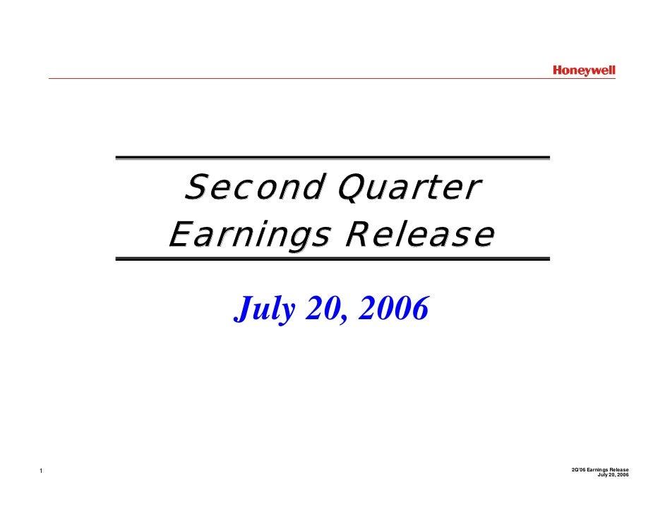 Second Quarter     Earnings Release         July 20, 2006                           2Q'06 Earnings Release 1              ...