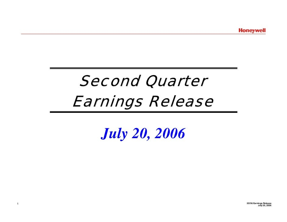 Honeywell Q2 2006 Earnings Conference Call Presentation