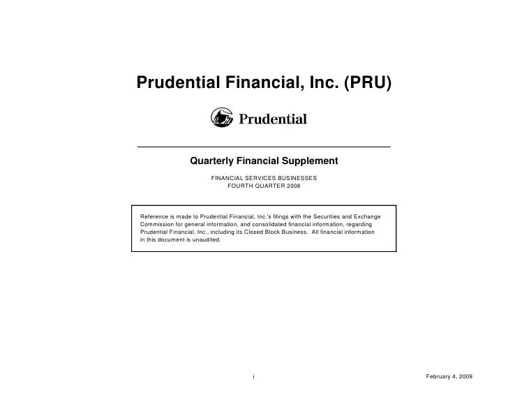 Prudential Financial, Inc. (PRU)                      Quarterly Financial Supplement                           FINANCIAL S...