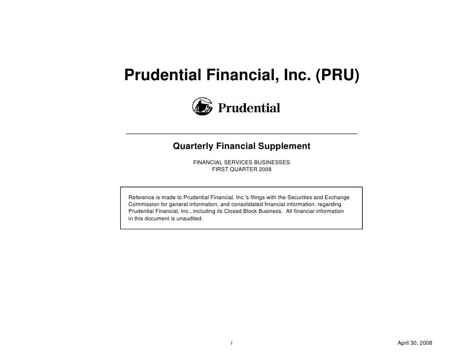 prudential financial 1Q08 Quarterly Financial Supplement