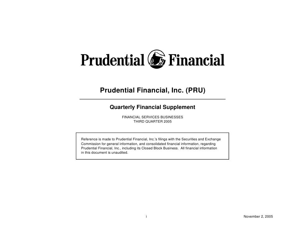 Prudential Financial, Inc. (PRU)                    Quarterly Financial Supplement                           FINANCIAL SER...