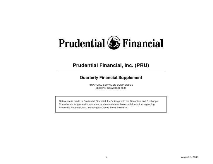 prudential financial 2Q03 QFS