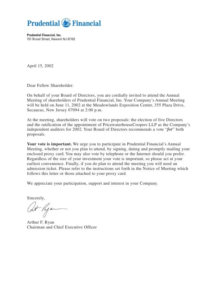 Prudential Financial, Inc. 751 Broad Street, Newark NJ 07102     April 15, 2002    Dear Fellow Shareholder:  On behalf of ...
