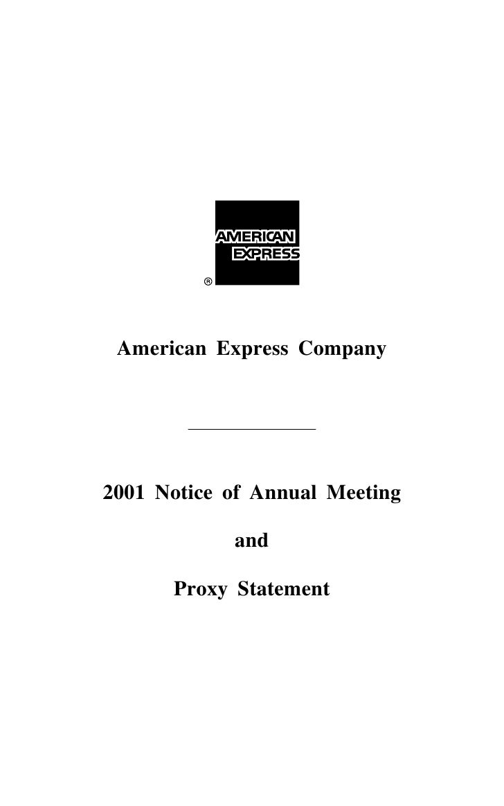 American Express Company     2001 Notice of Annual Meeting              and        Proxy Statement