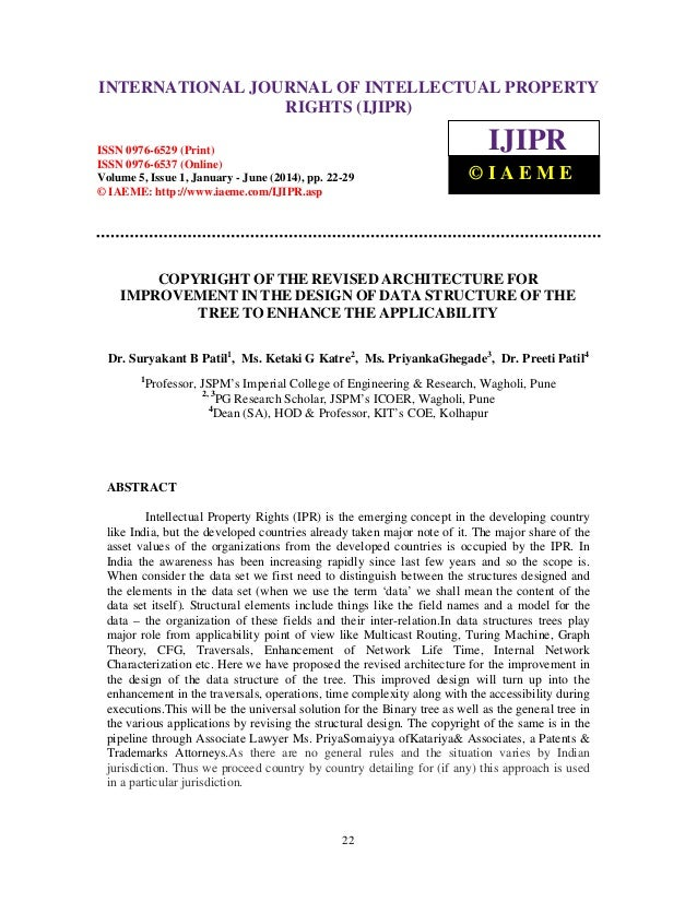 International Journal of Intellectual Property Rights (IJIPR), ISSN 0976-6529 (Print), ISSN 0976-6537 (Online), Volume 5, ...