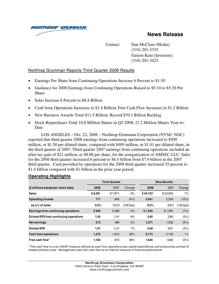 northrop grumman Earnings Announcement 2008 3rd