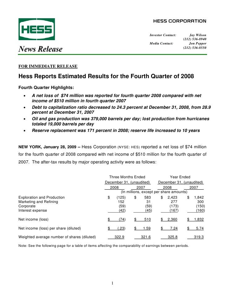 HESS CORPORATION                                                                                    Investor Contact:     ...