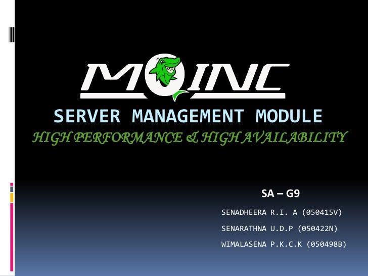 SERVER MANAGEMENT MODULE HIGH PERFORMANCE & HIGH AVAILABILITY                                SA – G9                      ...