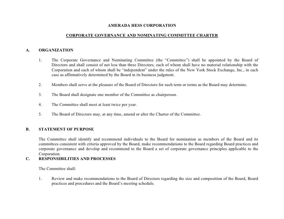 AMERADA HESS CORPORATION                      CORPORATE GOVERNANCE AND NOMINATING COMMITTEE CHARTER   A.   ORGANIZATION   ...
