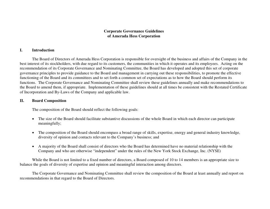 Corporate Governance Guidelines                                                     of Amerada Hess Corporation   I.     I...