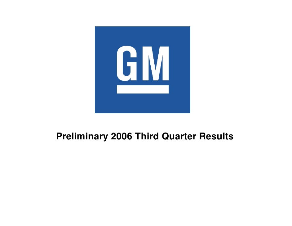 Preliminary 2006 Third Quarter Results