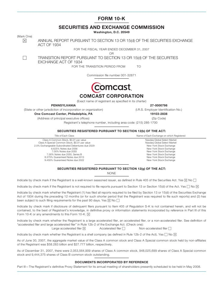 comcast Annual Report on Form 10-K  2007