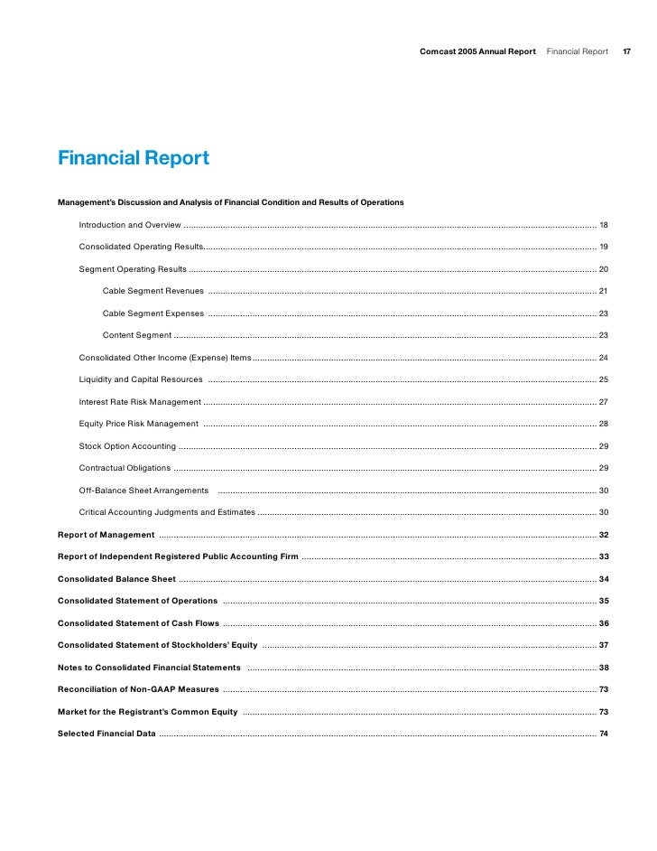 comcast Financial Report
