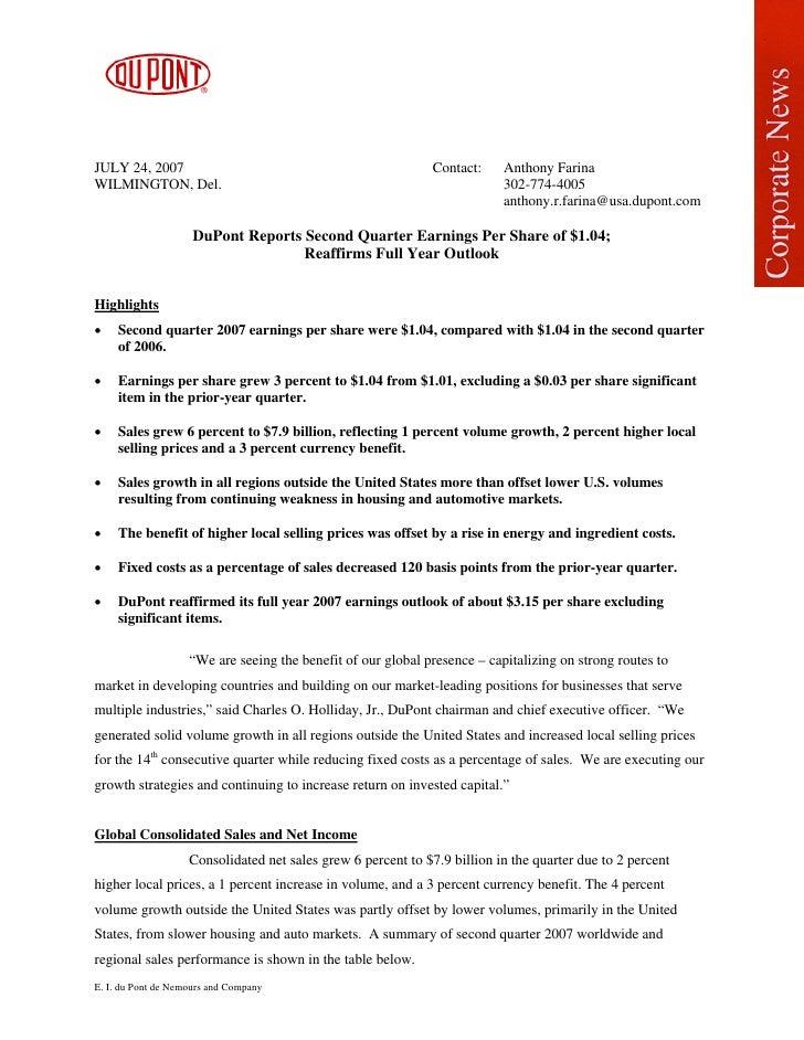 JULY 24, 2007                                                  Contact:    Anthony Farina WILMINGTON, Del.                ...