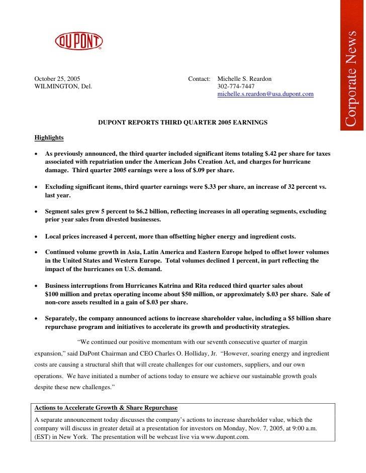 October 25, 2005                                            Contact:   Michelle S. Reardon WILMINGTON, Del.               ...