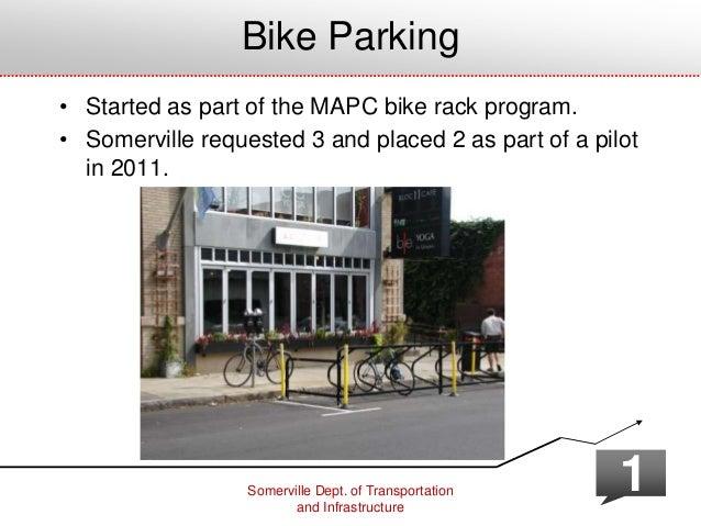 Somerville Dept. of Transportation and Infrastructure 1 Bike Parking • Started as part of the MAPC bike rack program. • So...
