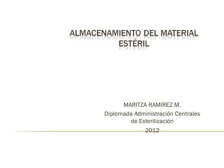 MARITZA RAMIREZ M.Diplomada Administración Centrales        de Esterilización             2012