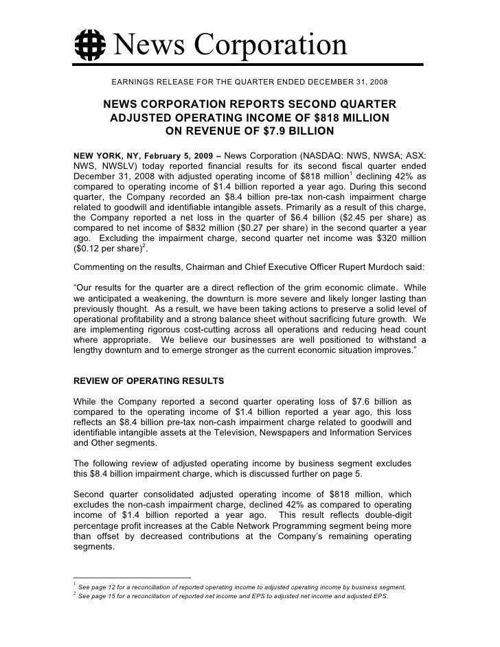 News Corporation                EARNINGS RELEASE FOR THE QUARTER ENDED DECEMBER 31, 2008              NEWS CORPORATION REP...