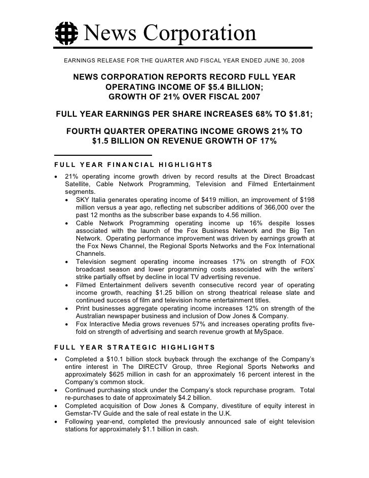 News Corporation     EARNINGS RELEASE FOR THE QUARTER AND FISCAL YEAR ENDED JUNE 30, 2008        NEWS CORPORATION REPORTS ...