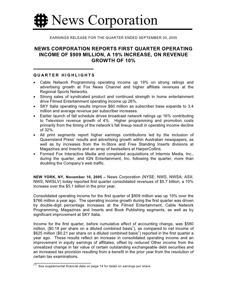 News Corporation              EARNINGS RELEASE FOR THE QUARTER ENDED SEPTEMBER 30, 2005   NEWS CORPORATION REPORTS FIRST Q...