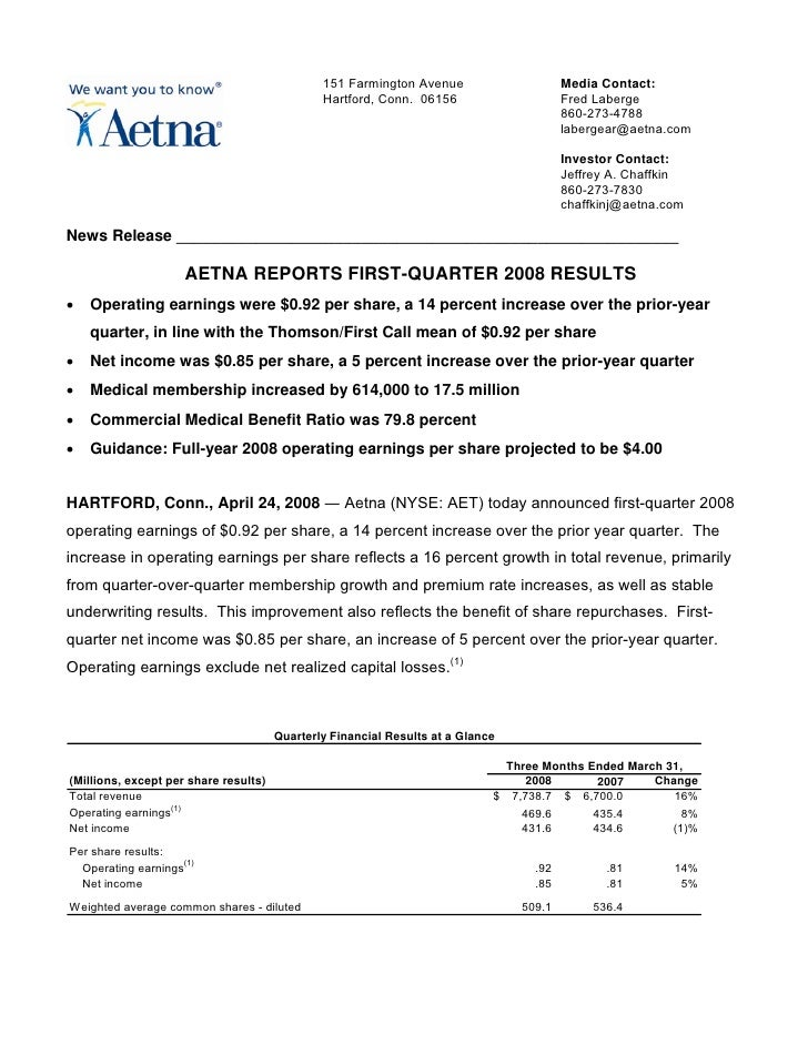 aetna Download DocumentationEarnings Release and Tables2008 1st
