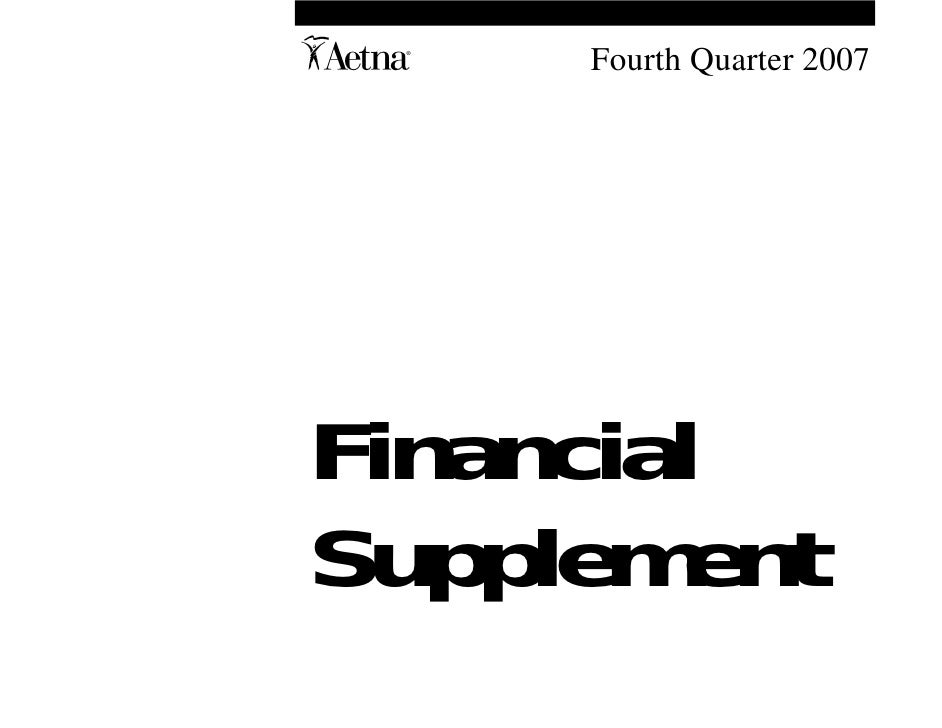 aetna Download DocumentationFinancial Supplement 2007 4th