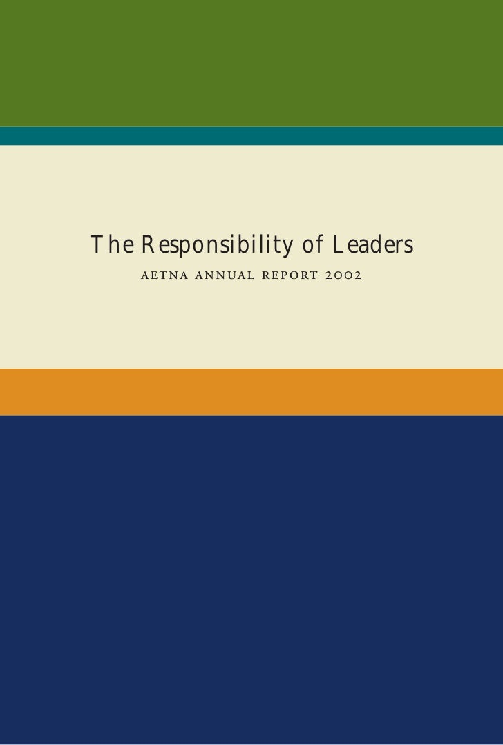 The Responsibility of Leaders        
