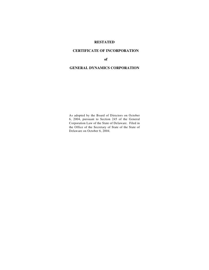 general dynamics Restated Certificate of Incorporation