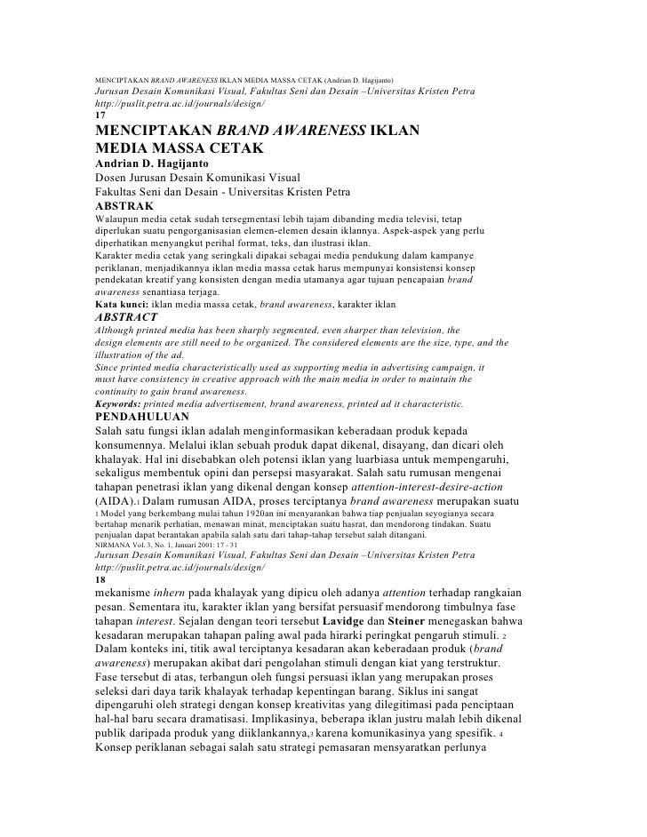 MENCIPTAKAN BRAND AWARENESS IKLAN MEDIA MASSA CETAK (Andrian D. Hagijanto) Jurusan Desain Komunikasi Visual, Fakultas Seni...