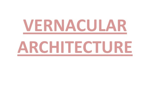vernacular terms in architecture pdf