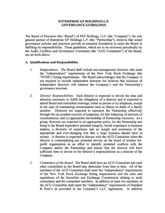 enterprise gp holdings Governance Guidelines