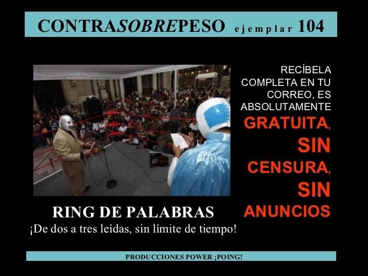 CONTRA SOBRE PESO  e j e m p l a r  104 PRODUCCIONES POWER ¡POING! RING DE PALABRAS ¡De dos a tres leídas, sin límite de t...