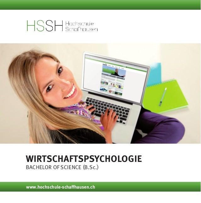 Wirtschaftspsychologie Bachelor of Science (B.Sc.) www.hochschule-schaffhausen.ch