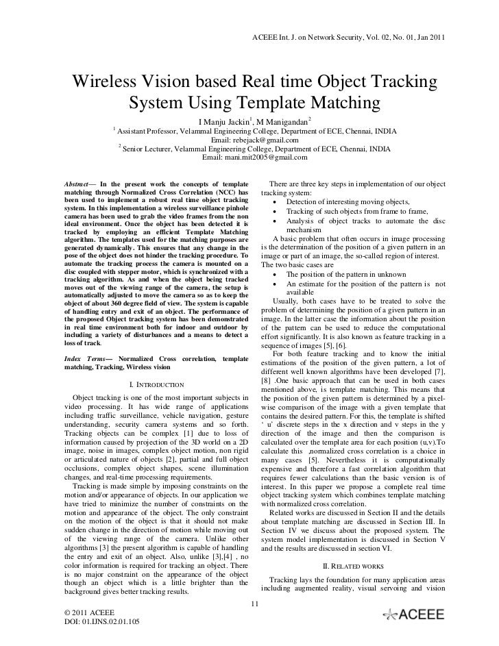 ACEEE Int. J. on Network Security, Vol. 02, No. 01, Jan 2011  Wireless Vision based Real time Object Tracking         Syst...