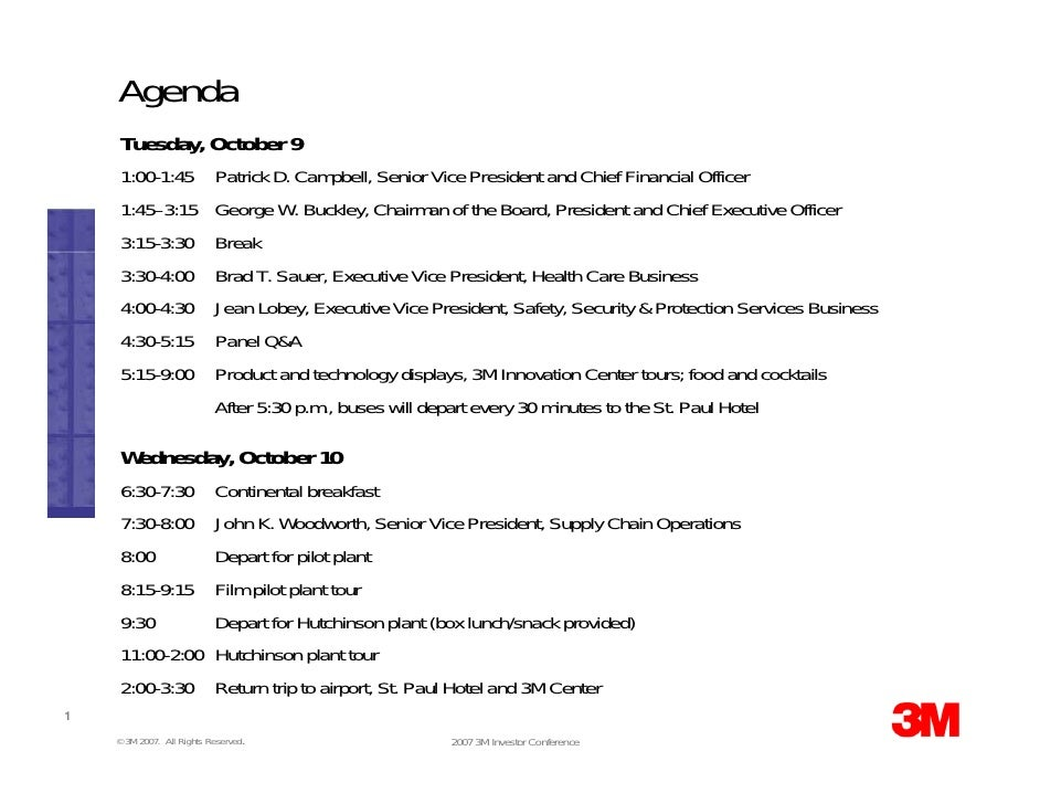 Agenda      Tuesday, October 9      1:00-1:45             Patrick D. Campbell, Senior Vice President and Chief Financial O...