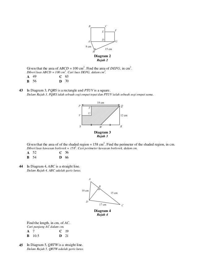 Soalan Matematik Perimeter Dan Luas Tahun 5 Persoalan X