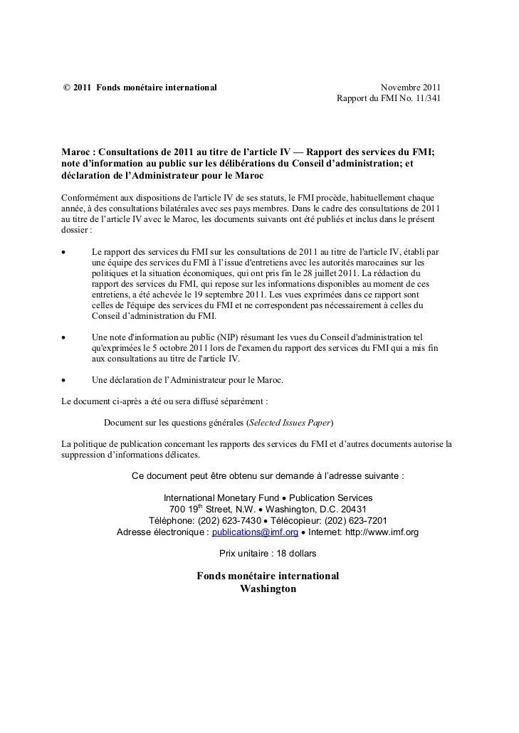© 2011 Fonds monétaire international                                                   Novembre 2011                      ...
