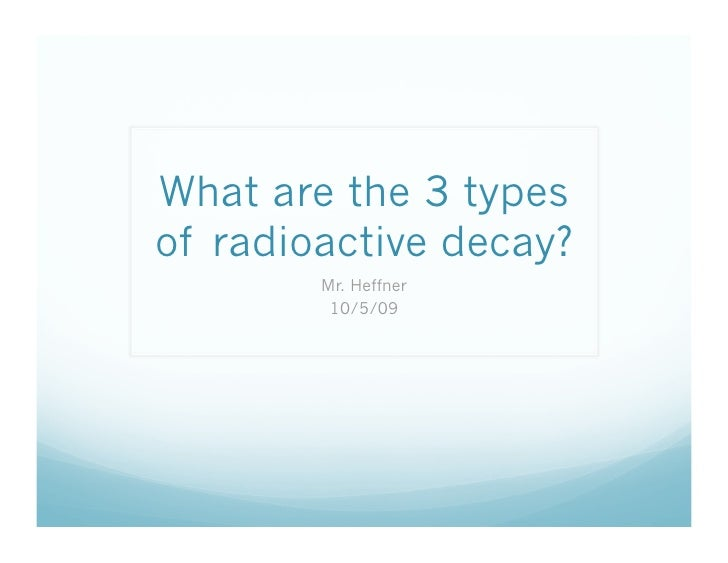 What are the three types of Radioactive Decay?
