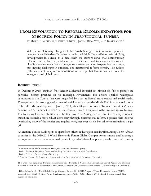 JOURNAL OF INFORMATION POLICY 3 (2013): 575-600.  FROM REVOLUTION TO REFORM: RECOMMENDATIONS FOR SPECTRUM POLICY IN TRANSI...