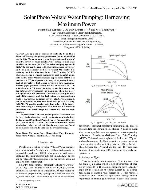Solar Photo Voltaic Water Pumping: Harnessing Maximum Power