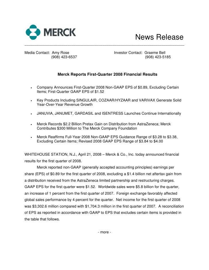 merck 1Q08 Earnings Release