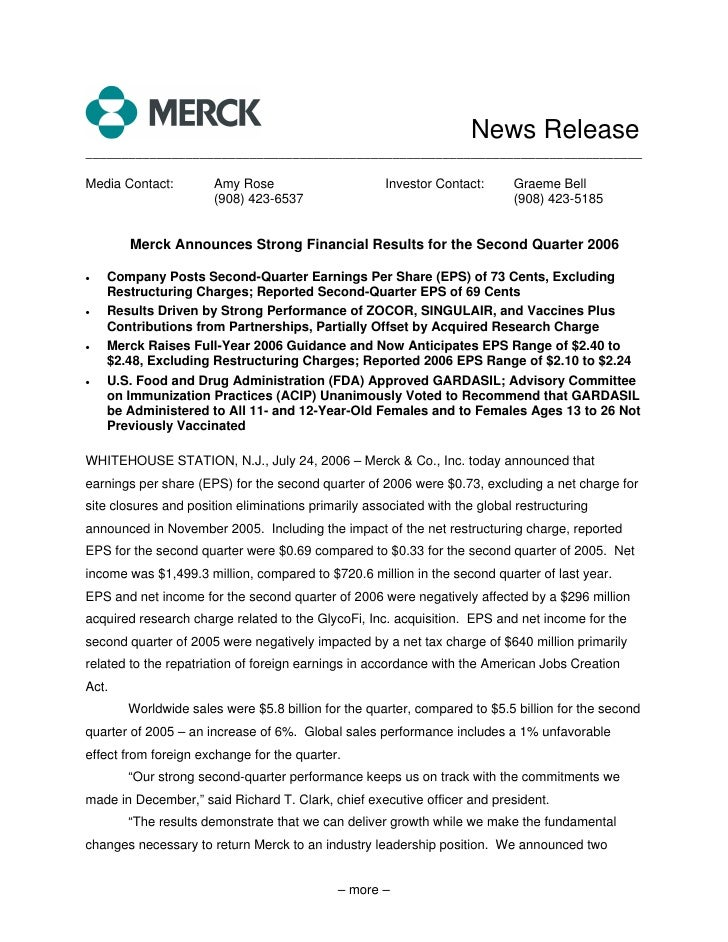 merck  	2Q06 Earnings Release